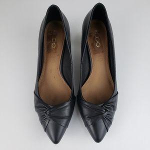 Aldo Black Leather Bow Kitten High Heels Size 9